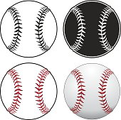 Baseballs is an illustration of a baseball in four styles from simple black and white to complex full color.