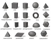 Basic 3d geometric shapes. Isolated on white background.Vector illustration.