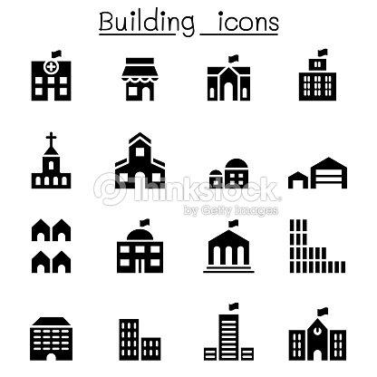 基本的な建物のアイコンを設定 : ベクトルアート