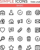 Basic business, internet web interface linear concepts, vector thin line icons set. 32x32 px. Modern line graphic design for website, web design, infographics. Pixel perfect vector outline icons set