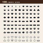 100 basic Crown icons set . Illustration eps10