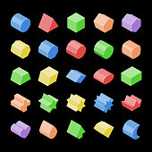 Basic isometric set vector isolated geometric 3d shapes. Education figure collection. Color cylinder, cube, triangular prism, hexagonal, cuboid, parallelepiped, star, crown, heart, arrow, superellipse