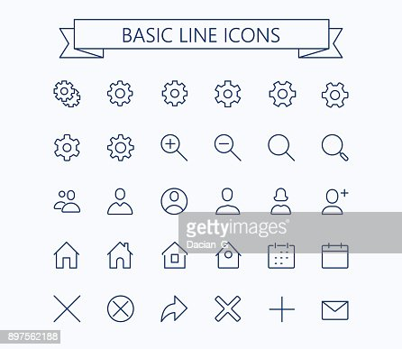 Basic line mini icons.Editable stroke. 24x24 grid. Pixel Perfect.Delete,search,home,settings,plus,contacts and message : stock vector