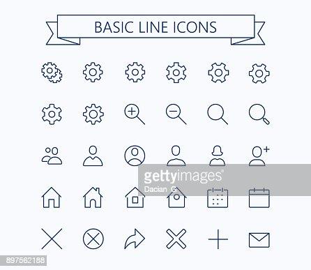 基本的なラインのミニアイコン。編集可能なストローク。24 x 24 グリッド。ピクセル Perfect.Delete,search,home,settings,plus,contacts とメッセージ : ベクトルアート