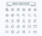 Basic line mini icons.Editable stroke. 24x24 grid. Pixel Perfect.Delete,search,home,settings,plus,contacts and message. eps 10