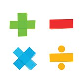 basic colorful mathematical symbols plus minus multiply divide