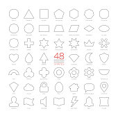 Editable stroke outline vector set basic geometric shapes. Kids thin figures school collection. Simple design symbols. Circle, triangle, square, pentagon, hexagon, heptagon, octagon, nonagon, decagon.
