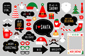 Christmas photo booth props. Merry christmas party . Red and green cards and speech bubble with funny quotes for christmas. Vector photobooth set: Santa and elf hat, beard, deer, snowman, candy, musta