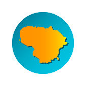 Vector isolated simplified illustration icon with orange silhouette of Lithuania. Blue background