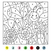 Activity educational worksheet for children. Coloring bu numbers. Funny bee and flowers. Vector illustration