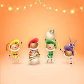 Four Dutch Sintrklaas helpers - celebrate holidays - vector illustration on orang background with lights