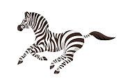 Vector running cute zebra, children alphabet illustration letter Z