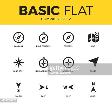 Basic set of compass icons : stock vector