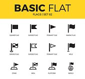 Basic set of pennant flag, waving flag and hole flag icons. Modern flat pictogram collection. Vector material design concept, web symbols and logo concept.