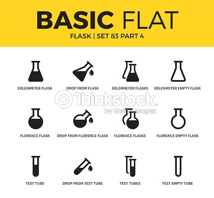 Basic set of flask icons : stock vector