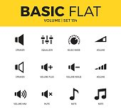 Basic set of volume plus, note and speaker icons. Modern flat pictogram collection. Vector material design concept, web symbols and logo concept.