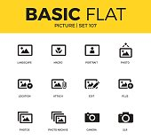 Basic set of landscape, camera and location icons. Modern flat pictogram collection. Vector material design concept, web symbols and logo concept.