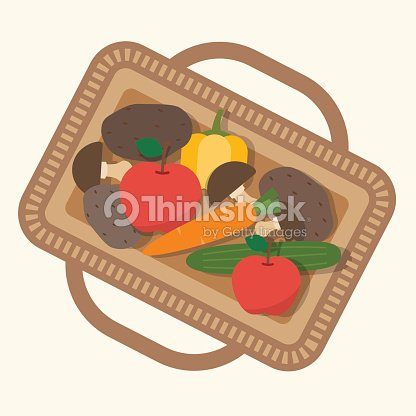 Basket with food, fruits and vegetables.
