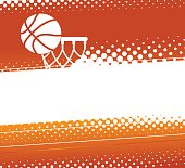 Basketball background. Silhouette of a basket ball and a basketball net