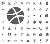 Basketball ball icon. Sport illustration vector set icons. Set of 48 sport icons