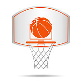Basketball basket, hoop, ball isolated on white background. Vector illustration