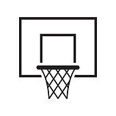 Black basketball basket icon. Vector illustration