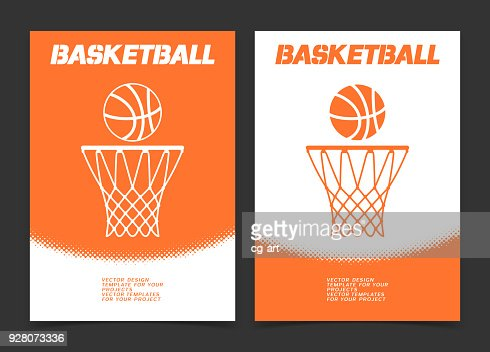 Basketball brochure or web banner design with ball and hoop icon : stock vector