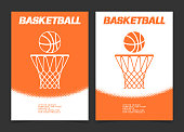 Basketball brochure or web banner design with ball and hoop icon. Vector illustration
