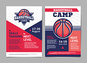 Basketball camp posters, flyer with basketball ball - template vector design