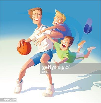 basketball cheerful : Vector Art