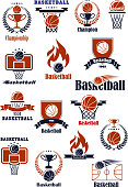 Basketball championship or club emblems with sport balls, backboards, baskets, court and trophy cups decorated with heraldic elements