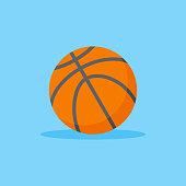 Basketball flat style icon on blue background. Orange ball vector illustration.