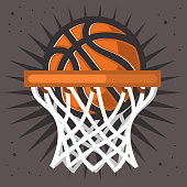 Basketball Hoop And A Ball Design Vector Graphic