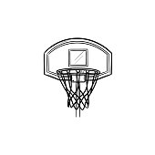 Basketball hoop and net hand drawn outline doodle icon. Basketball equipment, game goal, competition concept. Vector sketch illustration for print, web, mobile and infographics on white background.