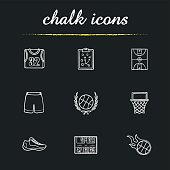 Basketball chalk icons set. Vector. Clipboard game plan, field, hoop, shirt, shorts and shoe, ball in laurel wreath, scoreboard and burning ball