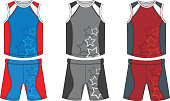 Basketball player outfit with colorful and starry pattern.
