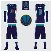 Basketball jersey, shorts, socks template for basketball club. Front and back view sport uniform. Tank top t-shirt mock up with basketball flat icon design on label. Vector Illustration.
