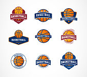 Basketball logo, emblem, icons collections - vector design templates