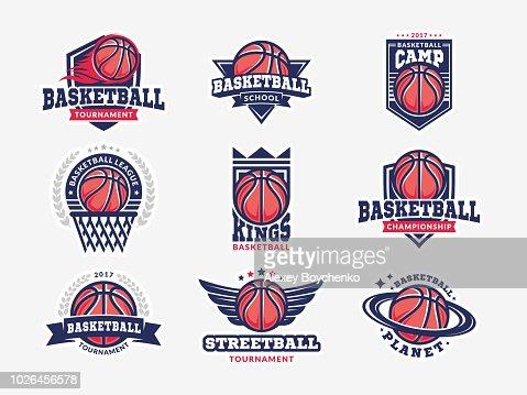 Basketball Logo Emblem set Sammlungen, Entwürfe Vorlagen auf einem hellen Hintergrund : Vektorgrafik