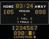 Basketball score board with orange square led on black background