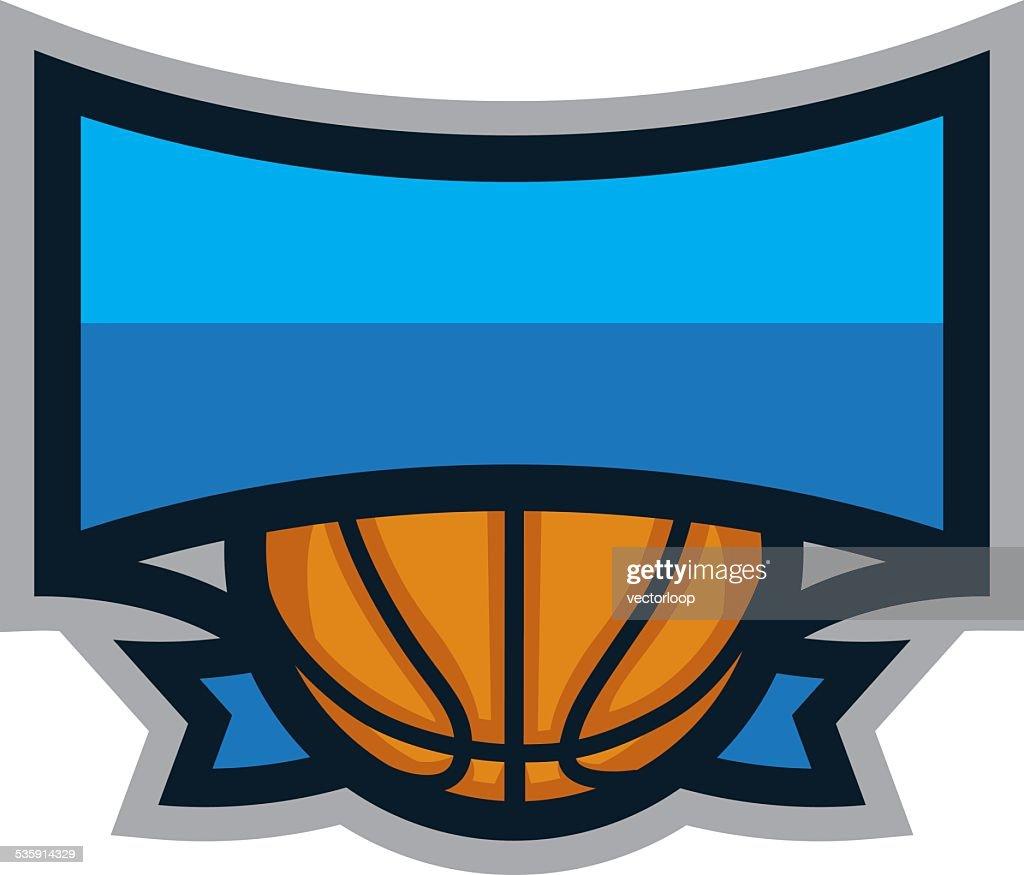 Logotipo de Escudo de basquetebol : Arte vetorial