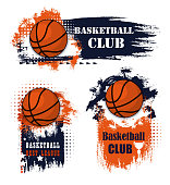 Basketball sport icons with balls and champion trophy cup. Basketball game competition with grunge elements and sporting items, adorned by star, orange and blue paint brush strokes