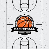 Basketball badge with the ball. Suitable for tournaments, championships, leagues. Vector design template.