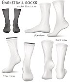 Basketball socks. Fully editable handmade mesh. Vector illustration