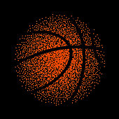 Basketball vector technology background game. Basket dots ball element activity.