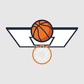Basketball with hoop. Vector