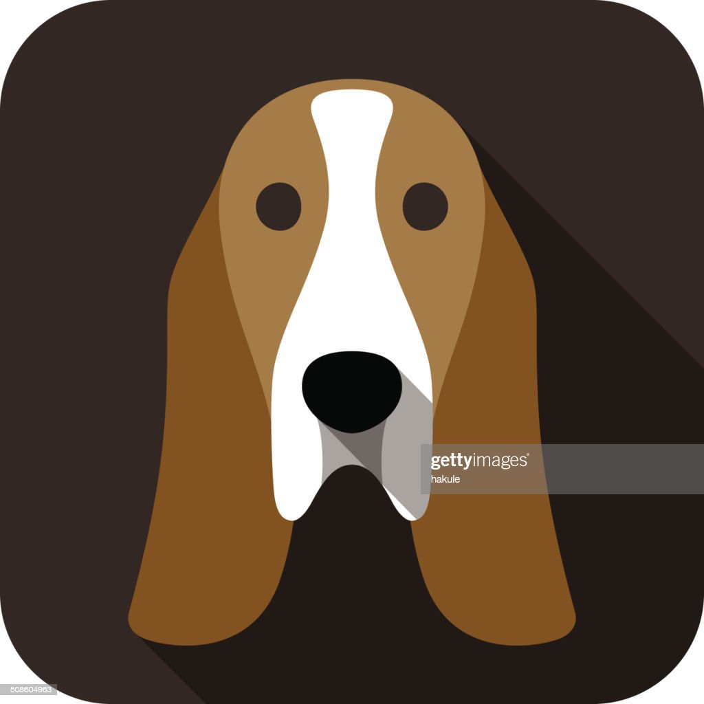 basset hound face flat icon, dog series : Vector Art