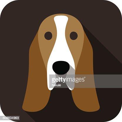 basset hound face flat icon, dog series : Vector Art