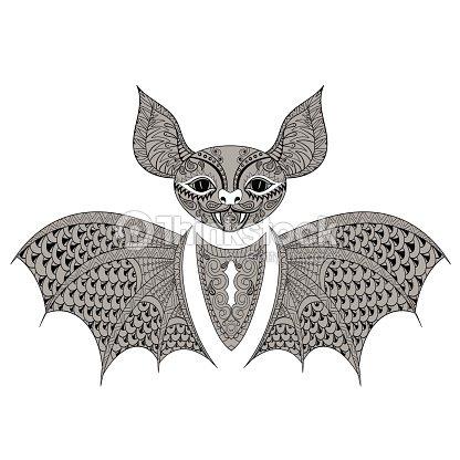 Zentangle Negro Bat Totem Para Adultos Para Colorear Página Contra ...