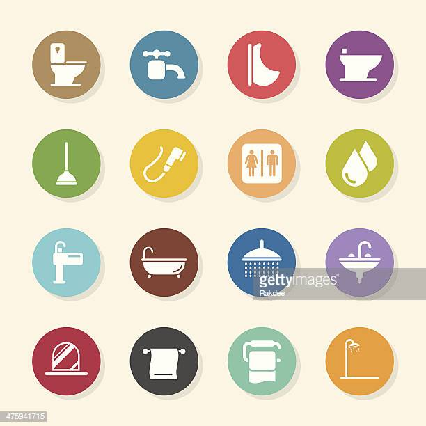 Bath and Bathroom Icons - Color Circle Series